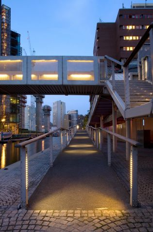 Paddington Basin; Ramps and Steps at night