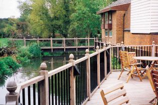 Watermill Hotel; Veranda and Bridge